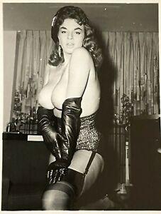 Vintage Slvr Gelatin Photo Bettie Page Era Pinup Jackie Miller Big Tits Nipples
