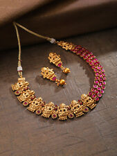 Indian Temple South Indian Jewelry Gold Tone Choker Necklace Set Earrings Pair