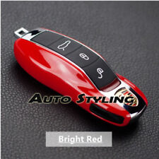 Red Key Fob Cover For Porsche Remote Case Casing Shell Housing Side Painted Trim