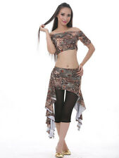 New Belly Dance Costume 2 pics Peacock Blouse Top&Hip Scarf Belt Skirt 6 colors