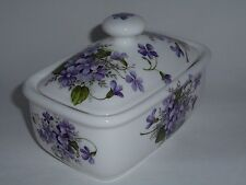 BN Vintage Style Retro Style Purple Violets Floral Spray Bone China Butter dish
