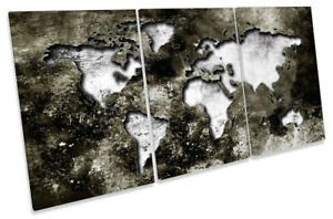 Map of the World Distressed Picture CANVAS WALL ART TREBLE Print Grey