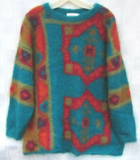 Jennifer Reed Knitted by Hand Fuzzy Mohair Acrylic Sweater Oversized Medium