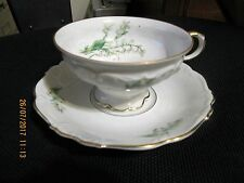 BAVARIA GERMANY CHINA EDELSTEIN LILY OF THE VALLEY 18551 LG. CUP & SAUCER MARKED