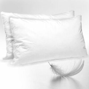 2x LUXURY DUCK FEATHER & DOWN PILLOWS SOFT COMFORTABLE HIGH QUALITY COTTON WHITE