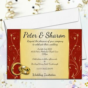 10 Personalised Red Gold Wedding Invitations / Evening Invites & Envelopes N70