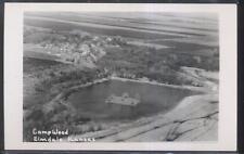 REAL PHOTO Postcard ELMDALE Kansas/KS Camp Wood Area Birdseye Aerial view 1940's