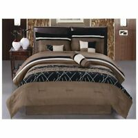 DCP 7Pcs Collection Bed in Bag Embroidery Microfiber Comforter Set, Queen, Brown