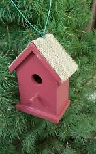 12 RED BIRDHOUSE ORNAMENTS W/ BURLAP ROOF- DECORATION  PARTY- HOLIDAY    - Sale