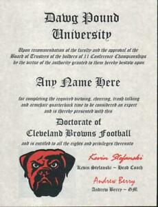 CLEVELAND BROWNS NFL FAN  ~ CERTIFICATE ~ DIPLOMA ~MAN CAVE ~ OFFICE FUN GIFT
