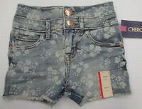new CHEROKEE SH7698 Girls Youth Size XS Cotton High Rise Floral Blue Jean Shorts