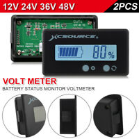 2pcs LCD 12V 24V 36V 48V Battery Status Voltage Voltmeter Monitor Meter BI1347