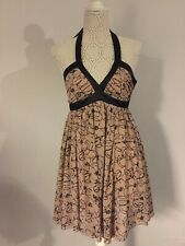 LIPSY dusky Pink / Black Halterneck Party Dress Size 8 VGC