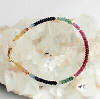 RUBIN SAPHIR SMARAGD Armband Edelstein Regenbogenarmband 925 Silber Bunt - farbe