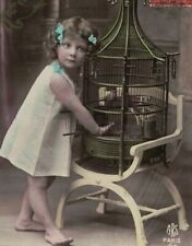 ME2851 VICTORIAN BAREFOOT GIRL FEEDING BIRD IN A VINTAGE BIRDCAGE RPPC