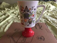 Vintage 1975 Sicilia By Arnart Red Pedestal Cup With A Fruit Theme Mug