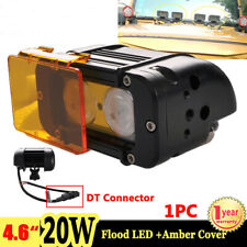 """1X 4.6"""" 20W LED Work Light Bar Flood Single Row Offroad Truck Boat + Amber Cover"""