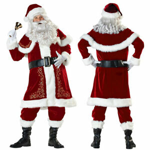 Santa Claus Costume Deluxe Father Outfit Christmas Velour Suit Mens Fancy Dress