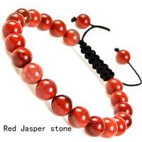 Handmade 8mm natural Red Jasper Stone gemstone beads adjustable bracelet