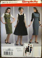 SIMPLICITY Sewing Pattern #3673 MISSES RETRO 50s PETITE DRESS Size 6-14 UNCUT