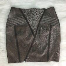 MIHA Women's Sz 4 Genuine Leather Distressed Taupe Designer Skirt New