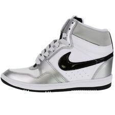Nike WOMEN'S Force Sky Hi HIDDEN WEDGE SIZE 9 NEW Classic Silver Black White