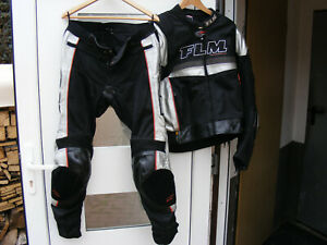 Motorrad Kombi FLM/Polo Schwarz/Silber Hose Gr, 54 und Jacke Gr. 58