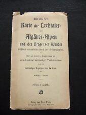 Landkarte Brunns Karte d.Lechtaler u.Algäuer Alpen u.d.Bregenzer Waldes um 1920