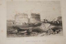 GRAVURE SUR ACIER ALGERIE AMPHITHEATRE DE JEMM 1844 RAFFET ROUARGUE A4