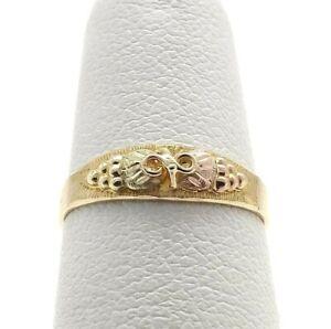 10K Tricolor Black Hills Gold Grape Leaves Infinity Petite Band Ring sz4