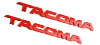 2 Pcs Tacoma Emblems Trunk Door Tailgate Decals Stickers Badges Red