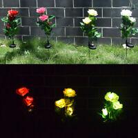 Ee _ Rosa Impermeable Solar Simulación LED Césped Estaca Luces Jardín Yarda