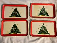 VINTAGE (4) Christmas Tree ALCOHOL PROOF PAPER MACHE SNACK TRAYS MADE IN JAPAN