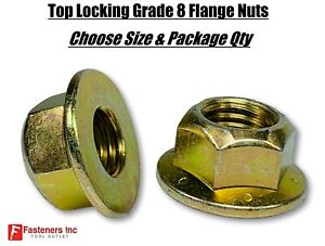 Grade 8 Top Locking Hex Flange / Frame Nuts Zinc Yellow (Choose Size & Qty)