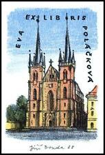 Bouda Jiri 1988 Exlibris L1 Bookplate Architecture Prague s146