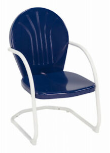 Jack Post Retro Patio Chair; Blue Seat with White Frame