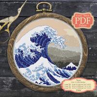 Great Wave off Kanagawa Japanese Embroidery art - Cross stitch PDF Pattern 118