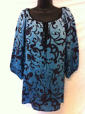 NWT Karen Kane Size Lg Silk Keyhole Top in Blue Mist with Swirl Print