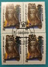 Russia(USSR)1990 MNHOG Block of 4 - Rare  Bubo-bubo owl CTO(FD-Moscow)
