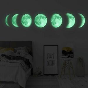 3D Luminous Moon Phase Wall Sticker Living Room Mural Art Decal Background Decor