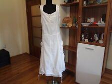 COMPLETO LINO BY ARTHURIO WHITE LINEN HEAVY STRAPPY SLOUCHY ASYMMETRIC DRESS-L