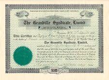 CANADA 1910 THE GRANVILLE SYNDICATE Ltd. Zertifikat Nr. 58 über 4 Gründer-Aktien