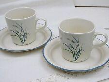 2 Corelle Coastal Breeze Cup & Saucer Blue Green Sea Grass - VGC