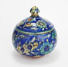 Fine PALESTINE POTTERY Islamic IZNIK STYLE LIDDED JAR / BOX c1900