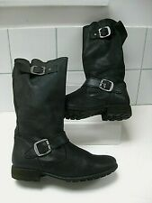 Ladies girls NEXT black leather mid calf BOOTS UK 4 biker engineer distressed