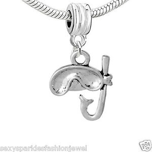Scuba Diving Mask and Snorkel Charm Bead for European Snake Chain Bracelets 3714