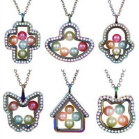 Rainbow Colored Living Memory Floating Pendant Pearl Cage Glass Locket Necklace