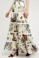 NWT Anthropologie Kavita Bhartia ivory Butterfly Floral Maxi Tier Swing Skirt L