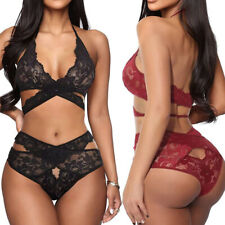 2 Peice Women Sexy-Lingerie Bralette Bra and Panty Set Babydoll Underwear Set