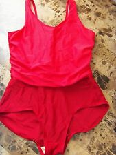 womens 1 PIECE ISLANDER SWIMSUIT plus size 18W 1X under wire RED slimming EUC!